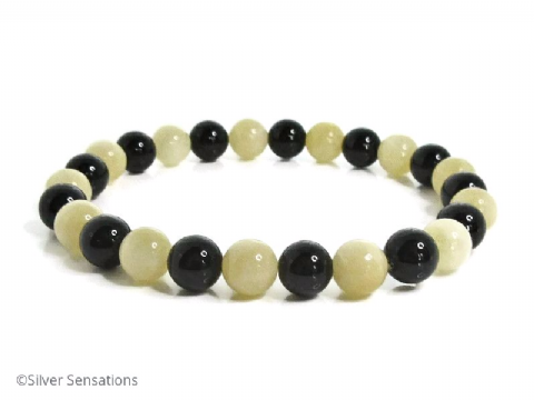 Black Onyx & Golden Pastel Yellow Honey Quartz Beaded Fashion Bracelet